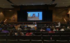 APUSH students listen to author Geraldine Brooks talk about her book.