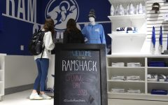 Students line up to purchase items at the Ram Shacks grand opening.