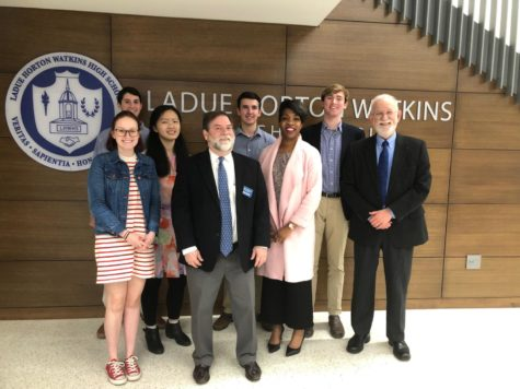 During Meet the Candidates Night, five National Honor Society members facilitated the question and answer session. (left to right) Rebecca Cunningham, Josh Horowitz, Connie Chen, Sheldon Johnson, Nick Whitaker, Leslie Tolliver, Trey Freund, Jeff Kopolow