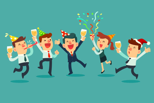 Happy business team in the party. Businessman and businesswoman raising champagne glasses celebrating in office party.
