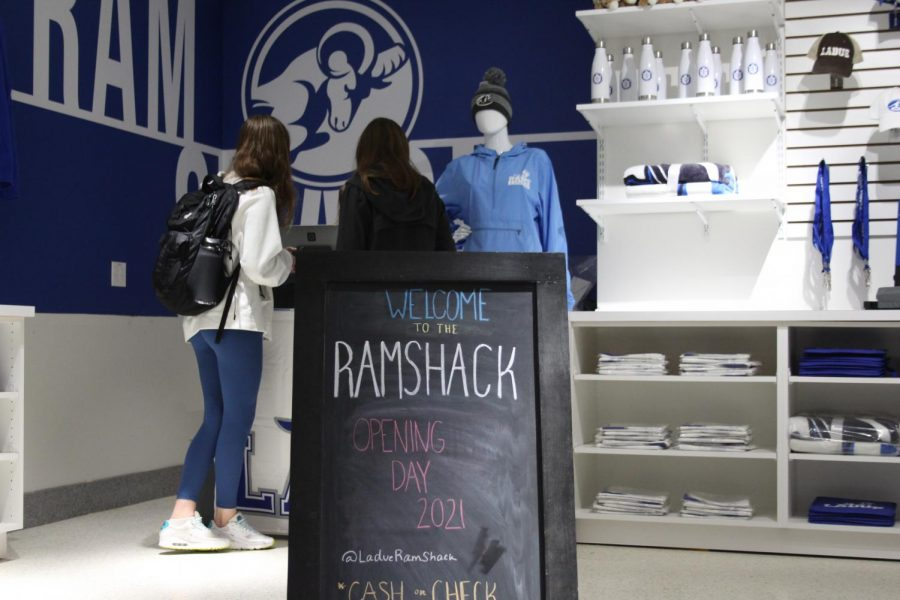 Students line up to purchase items at the Ram Shack