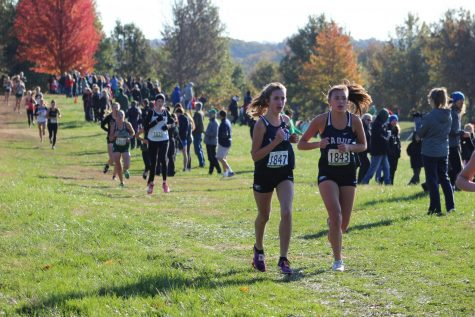 Freshman Jordan Hunt and Samantha Strayhorn run together during the 2019 cross country sectionals Nov 2. Strayhorn and Hunt, now juniors, have been runners all through high school.