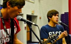 Ricky Montgomery sings at his Eureka High School graduation.